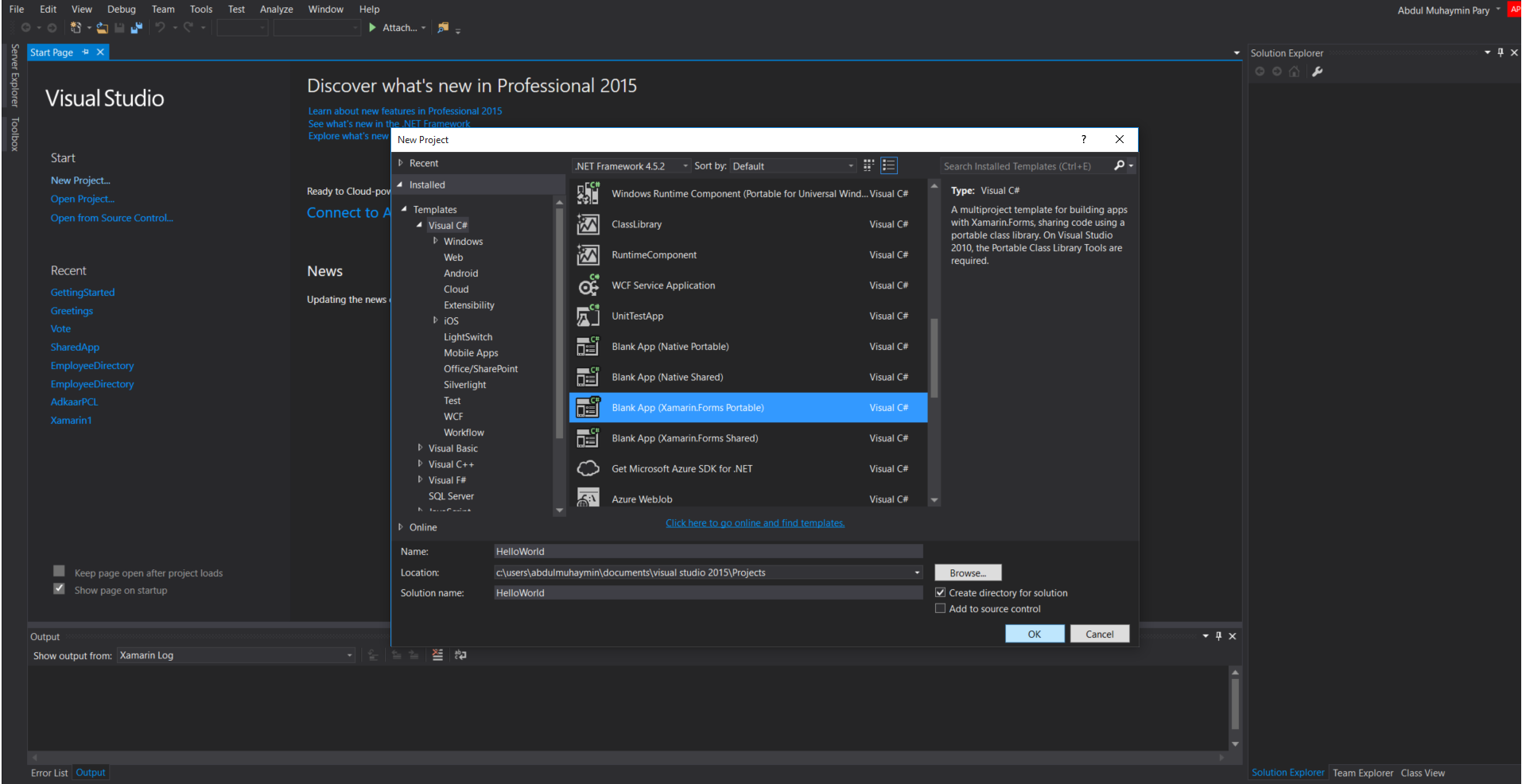 Xamarin.Forms PCL New Project in VS2015